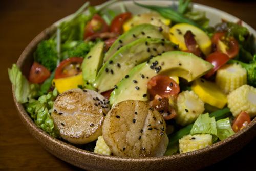 Summer vegetable and scallop salad | Okonomiyaki