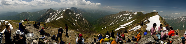 Panorama view from summit of Mt. Tanigawa, Gunma Prefecture